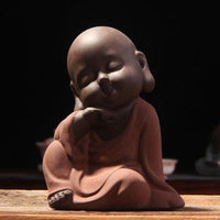 Handpainted Cute Buddha Ceramic Figurine Tea Pet Contemplating Buddha Statue