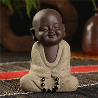 Handpainted Cute Buddha Ceramic Figurine Tea Pet Diligence Buddha Statue
