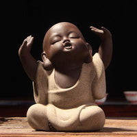 Handpainted Cute Buddha Ceramic Figurine Tea Pet Free Buddha Statue