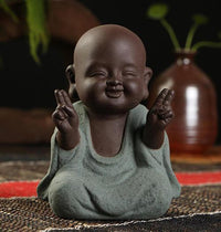 Handpainted Cute Buddha Ceramic Figurine Tea Pet Happiness Buddha Statue