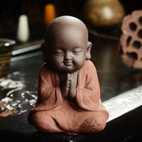 Handpainted Cute Buddha Ceramic Figurine Tea Pet Patience Buddha Statue
