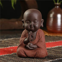 Handpainted Cute Buddha Ceramic Figurine Tea Pet Perception Buddha Statue