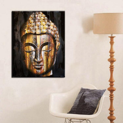 HD Modern Golden Wood Buddha Painting Painting
