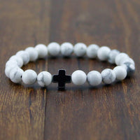 Hematite Gallstone Cross with Lava Stone & White Turquoise Beads Bracelet Black - White Turquoise Bracelet