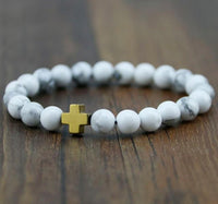 Hematite Gallstone Cross with Lava Stone & White Turquoise Beads Bracelet Gold - White Turquoise Bracelet