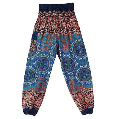 High Waist Harem Pants Blue 1 (Elastic Waist) Clothing