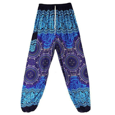 High Waist Harem Pants Blue 3 (Drawstring) Clothing