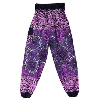 High Waist Harem Pants Purple (Elastic Waist) Clothing