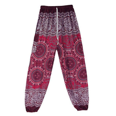 High Waist Harem Pants Red (Drawstring) Clothing
