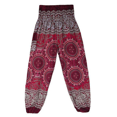 High Waist Harem Pants Red (Elastic Waist) Clothing