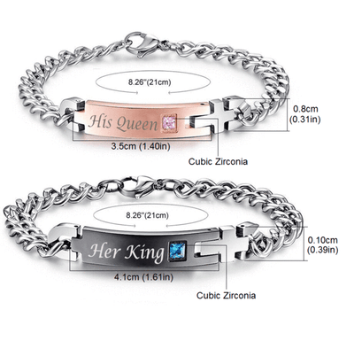"""His Queen"", ""Her King"" Stainless Steel Couple Bracelets Bracelet"