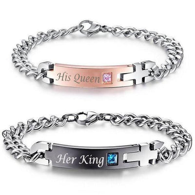 """His Queen"", ""Her King"" Stainless Steel Couple Bracelets His & Hers 2pc Set Bracelet"