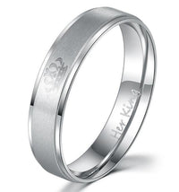 """His Queen"", ""Her King"" Stainless Steel Couple Rings Her King / 4 Rings"