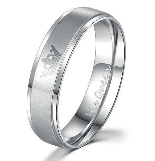 """His Queen"", ""Her King"" Stainless Steel Couple Rings His Queen / 4 Rings"