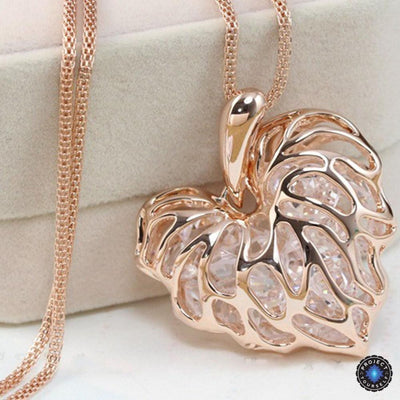 Hollow Heart Veins Crystal Cage Long Necklace 18K Gold Plated Necklace