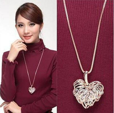 Hollow Heart Veins Crystal Cage Long Necklace Necklace