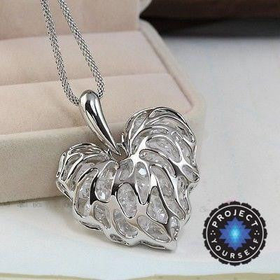 Hollow Heart Veins Crystal Cage Long Necklace Silver Necklace