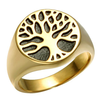 Holy Wisdom Tree Stainless Steel Signet Ring Gold / 10 Rings