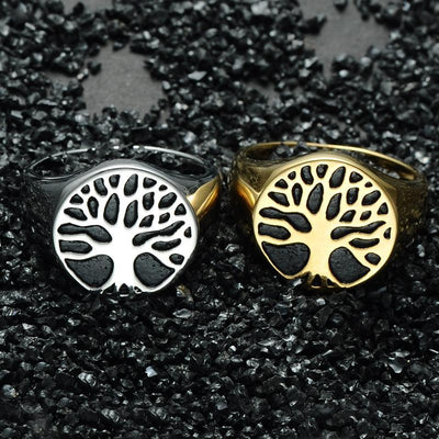 Holy Wisdom Tree Stainless Steel Signet Ring Rings