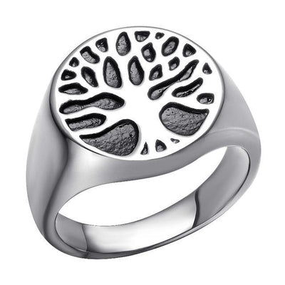 Holy Wisdom Tree Stainless Steel Signet Ring Silver / 10 Rings