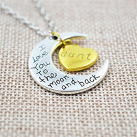 """I Love You To The Moon And Back"" Two Tone Family Necklace Aunt Necklace"