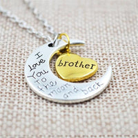"""I Love You To The Moon And Back"" Two Tone Family Necklace Brother Necklace"