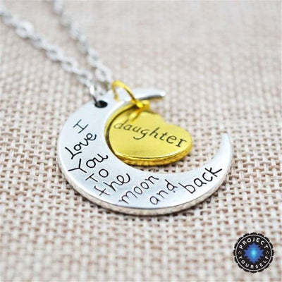 """I Love You To The Moon And Back"" Two Tone Family Necklace Daughter Necklace"