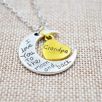 """I Love You To The Moon And Back"" Two Tone Family Necklace Grandpa Necklace"