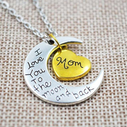 """I Love You To The Moon And Back"" Two Tone Family Necklace Mom Necklace"