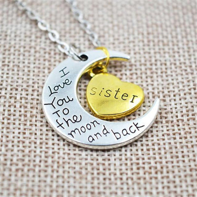 """I Love You To The Moon And Back"" Two Tone Family Necklace Sister Necklace"