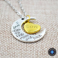 """I Love You To The Moon And Back"" Two Tone Family Necklace Son Necklace"