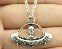 I Want To Believe UFO Necklace Antique Silver Plated Necklaces