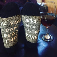 """If You Can Read This Bring Me a Glass of Wine"" Socks Style 4 Clothing"