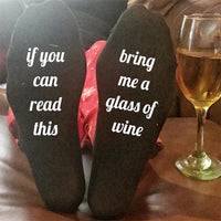 """If You Can Read This Bring Me a Glass of Wine"" Socks Style 6 Clothing"
