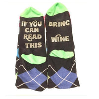 """If You Can Read This Bring Me a Glass of Wine"" Socks Style 7 Clothing"