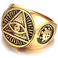 Illuminati Signet Ring Men Gold color / 10 Men's Ring