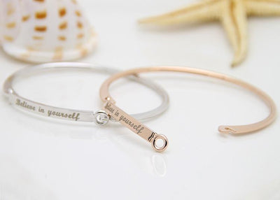 "Inspirational Script Engraved ""Believe In Yourself"" Bangle Bracelet Bracelet"