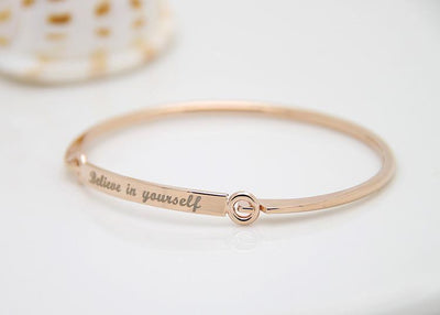 "Inspirational Script Engraved ""Believe In Yourself"" Bangle Bracelet Rose Gold Bracelet"
