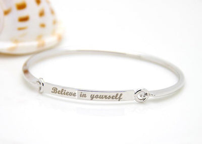 "Inspirational Script Engraved ""Believe In Yourself"" Bangle Bracelet Silver Bracelet"