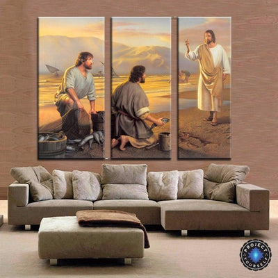 Jesus and the Fishermen 3 Panel Wall Art Painting Painting