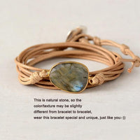 Labradorite Leather Wrap Bracelet Bracelet