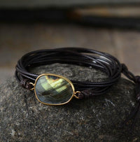 Labradorite Leather Wrap Bracelet Dark Brown Bracelet