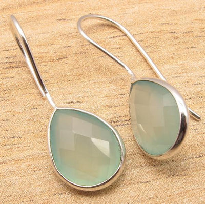 Labradorite Pear Drop Earrings Aqua Chalcedony Earrings