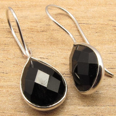Labradorite Pear Drop Earrings Black Onyx Earrings