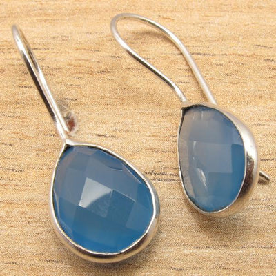 Labradorite Pear Drop Earrings Blue Chalcedony Earrings
