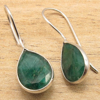Labradorite Pear Drop Earrings Emerald Earrings
