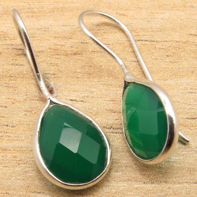 Labradorite Pear Drop Earrings Green Onyx Earrings