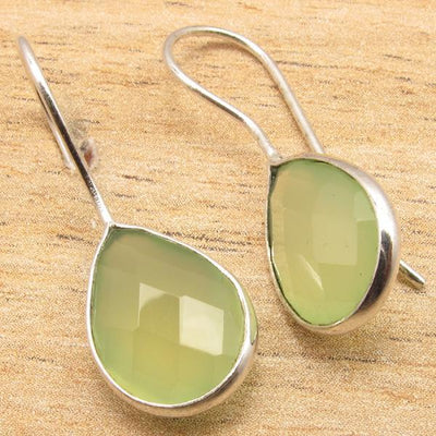 Labradorite Pear Drop Earrings Green Sea Chalcedony Earrings