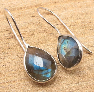 Labradorite Pear Drop Earrings Labradorite Earrings