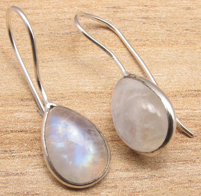 Labradorite Pear Drop Earrings Moonstone Earrings